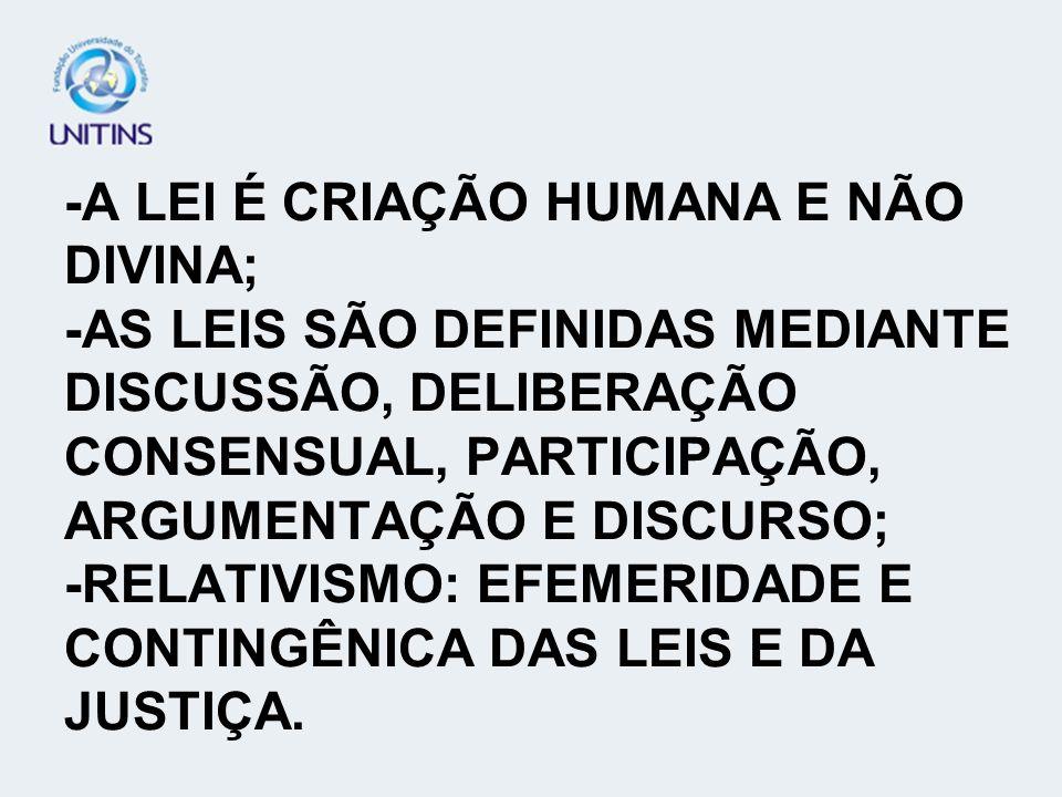 -A LEI É CRIAÇÃO HUMANA E NÃO DIVINA; -AS LEIS SÃO DEFINIDAS MEDIANTE DISCUSSÃO, DELIBERAÇÃO CONSENSUAL, PARTICIPAÇÃO, ARGUMENTAÇÃO E DISCURSO; -RELAT