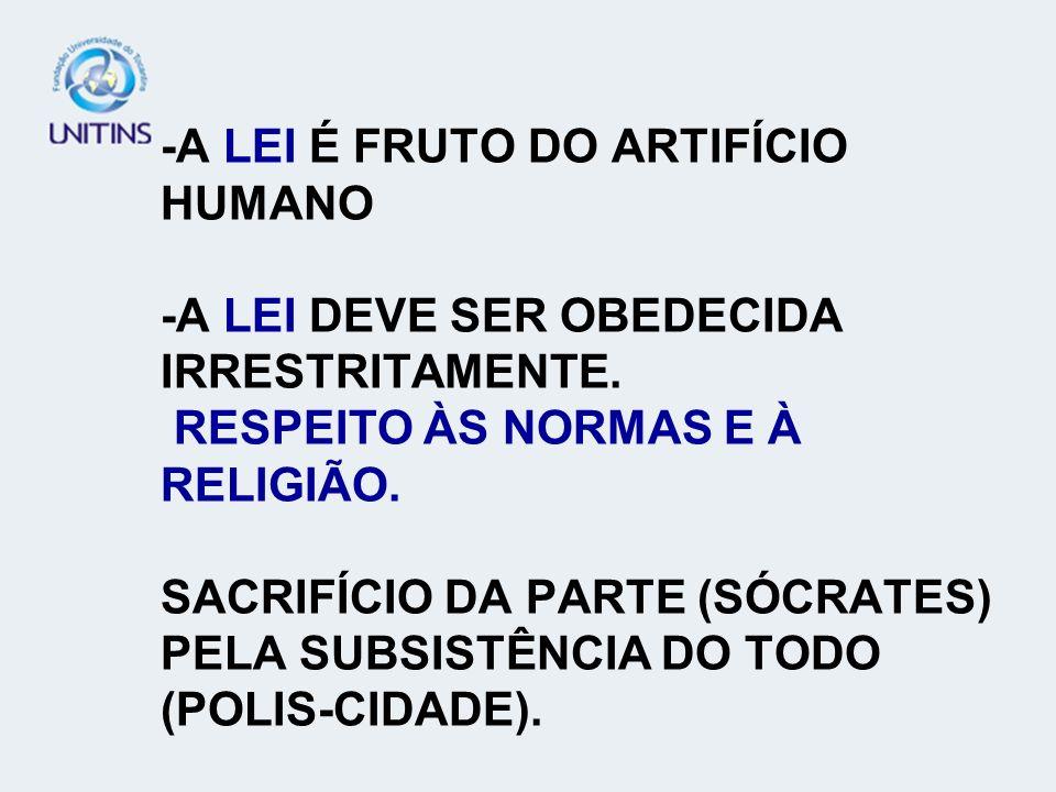 -A LEI É FRUTO DO ARTIFÍCIO HUMANO -A LEI DEVE SER OBEDECIDA IRRESTRITAMENTE. RESPEITO ÀS NORMAS E À RELIGIÃO. SACRIFÍCIO DA PARTE (SÓCRATES) PELA SUB
