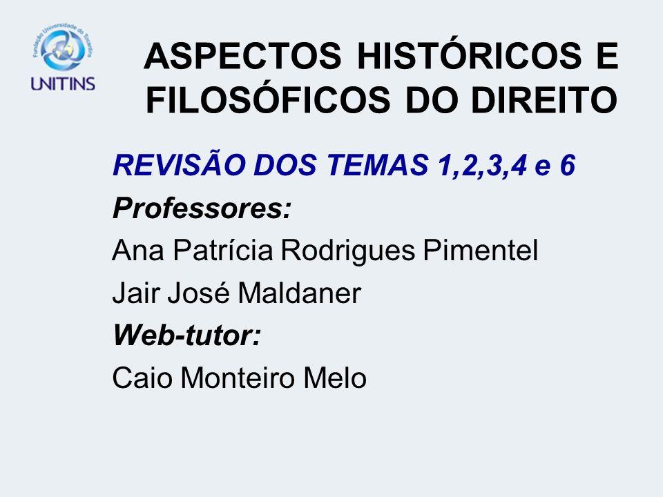 ASPECTOS HISTÓRICOS E FILOSÓFICOS DO DIREITO REVISÃO DOS TEMAS 1,2,3,4 e 6 Professores: Ana Patrícia Rodrigues Pimentel Jair José Maldaner Web-tutor: