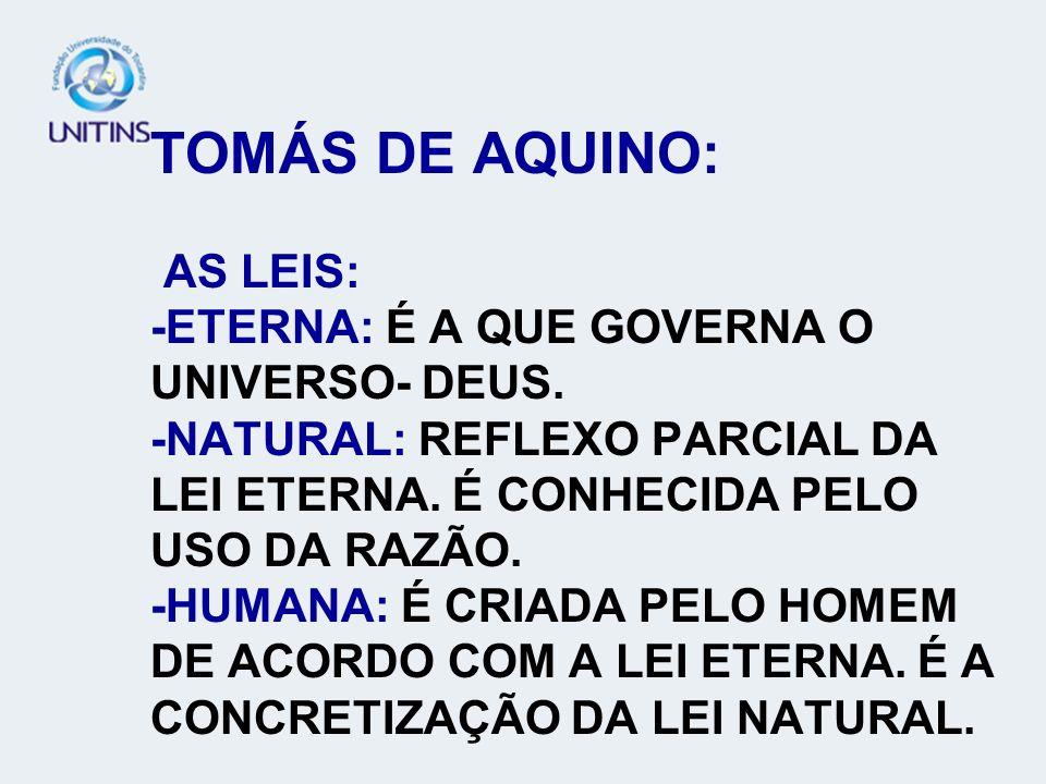 TOMÁS DE AQUINO: AS LEIS: -ETERNA: É A QUE GOVERNA O UNIVERSO- DEUS. -NATURAL: REFLEXO PARCIAL DA LEI ETERNA. É CONHECIDA PELO USO DA RAZÃO. -HUMANA: