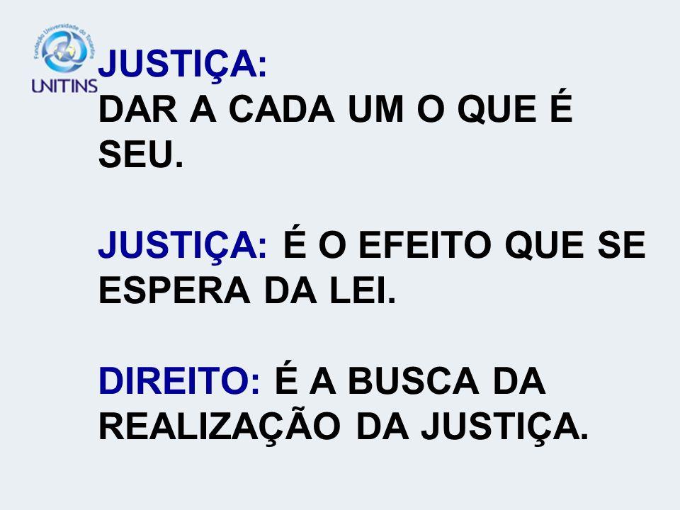 JUSTIÇA: DAR A CADA UM O QUE É SEU. JUSTIÇA: É O EFEITO QUE SE ESPERA DA LEI. DIREITO: É A BUSCA DA REALIZAÇÃO DA JUSTIÇA.