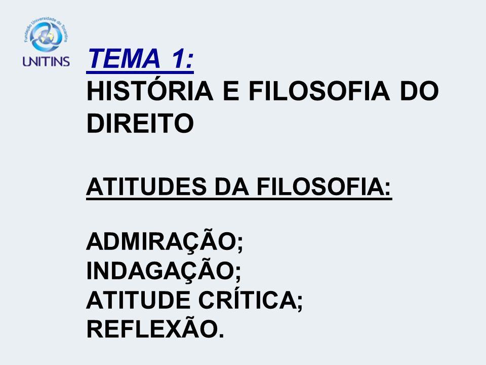 TEMA 1: HISTÓRIA E FILOSOFIA DO DIREITO ATITUDES DA FILOSOFIA: ADMIRAÇÃO; INDAGAÇÃO; ATITUDE CRÍTICA; REFLEXÃO.