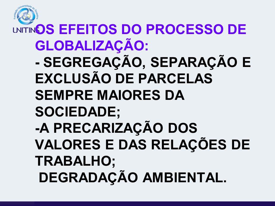 OS EFEITOS DO PROCESSO DE GLOBALIZAÇÃO: - SEGREGAÇÃO, SEPARAÇÃO E EXCLUSÃO DE PARCELAS SEMPRE MAIORES DA SOCIEDADE; -A PRECARIZAÇÃO DOS VALORES E DAS