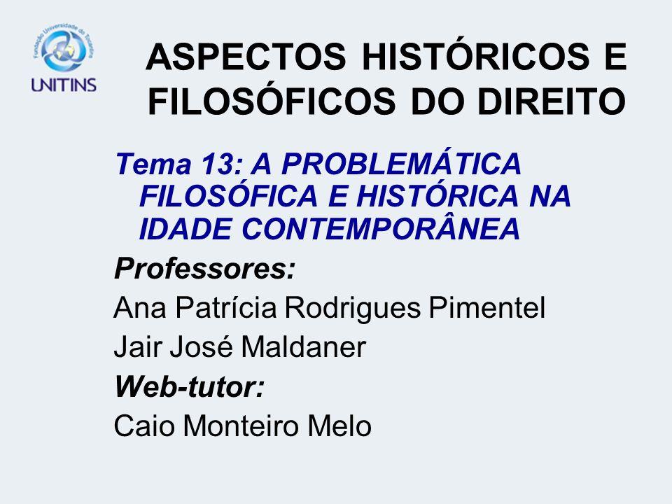 ASPECTOS HISTÓRICOS E FILOSÓFICOS DO DIREITO Tema 13: A PROBLEMÁTICA FILOSÓFICA E HISTÓRICA NA IDADE CONTEMPORÂNEA Professores: Ana Patrícia Rodrigues