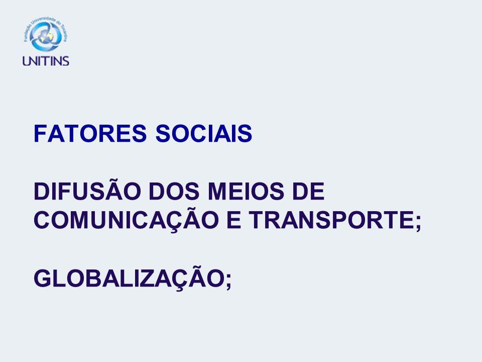 FATORES SOCIAIS DIFUSÃO DOS MEIOS DE COMUNICAÇÃO E TRANSPORTE; GLOBALIZAÇÃO;