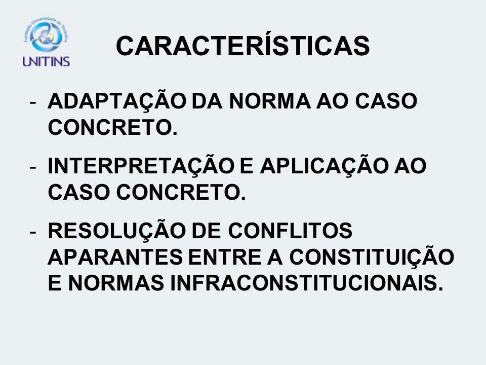 CARACTERÍSTICAS -ADAPTAÇÃO DA NORMA AO CASO CONCRETO. -INTERPRETAÇÃO E APLICAÇÃO AO CASO CONCRETO. -RESOLUÇÃO DE CONFLITOS APARANTES ENTRE A CONSTITUI