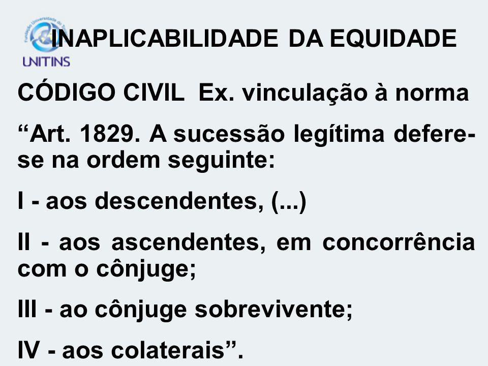 CÓDIGO CIVIL Ex. vinculação à norma Art. 1829. A sucessão legítima defere- se na ordem seguinte: I - aos descendentes, (...) II - aos ascendentes, em
