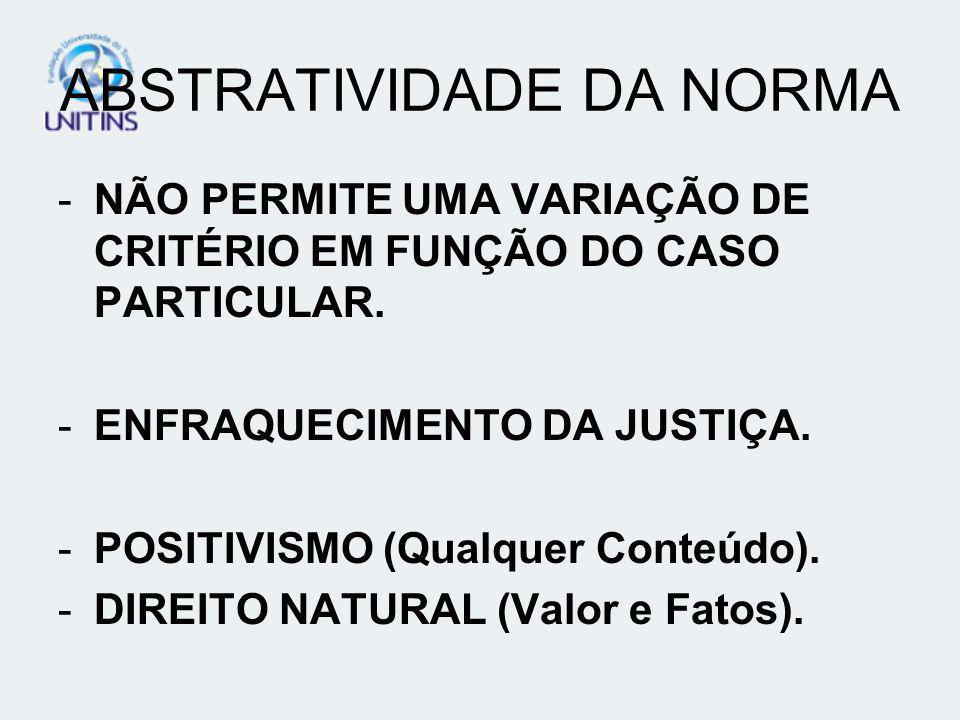 ABSTRATIVIDADE DA NORMA -NÃO PERMITE UMA VARIAÇÃO DE CRITÉRIO EM FUNÇÃO DO CASO PARTICULAR. -ENFRAQUECIMENTO DA JUSTIÇA. -POSITIVISMO (Qualquer Conteú