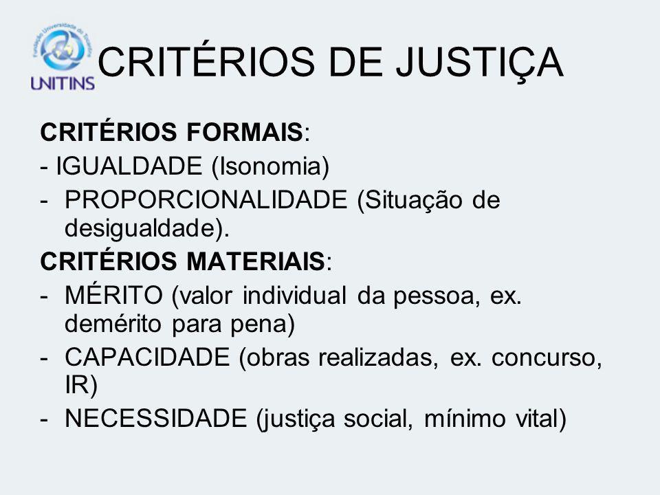 CRITÉRIOS DE JUSTIÇA CRITÉRIOS FORMAIS: - IGUALDADE (Isonomia) -PROPORCIONALIDADE (Situação de desigualdade). CRITÉRIOS MATERIAIS: -MÉRITO (valor indi
