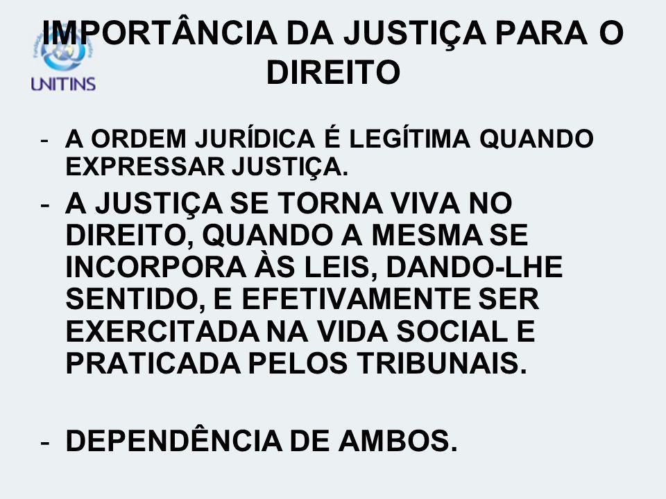 IMPORTÂNCIA DA JUSTIÇA PARA O DIREITO -A ORDEM JURÍDICA É LEGÍTIMA QUANDO EXPRESSAR JUSTIÇA. -A JUSTIÇA SE TORNA VIVA NO DIREITO, QUANDO A MESMA SE IN