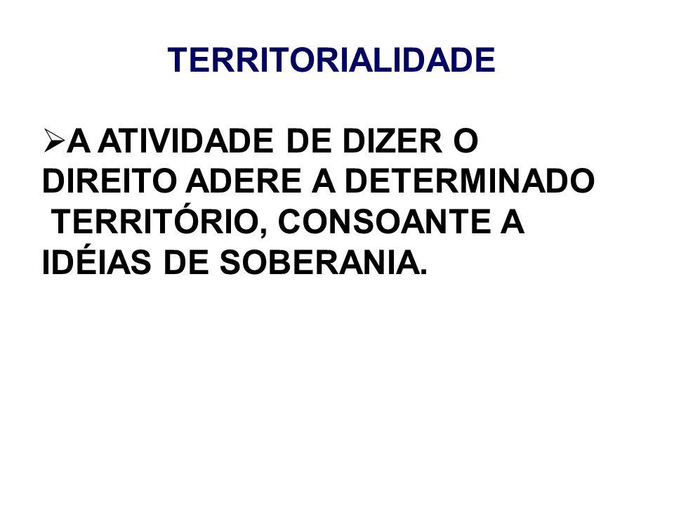 TERRITORIALIDADE A ATIVIDADE DE DIZER O DIREITO ADERE A DETERMINADO TERRITÓRIO, CONSOANTE A IDÉIAS DE SOBERANIA.