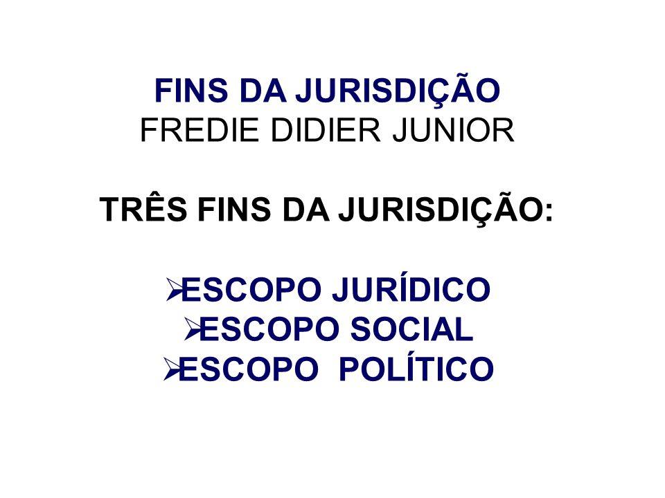 FINS DA JURISDIÇÃO FREDIE DIDIER JUNIOR TRÊS FINS DA JURISDIÇÃO: ESCOPO JURÍDICO ESCOPO SOCIAL ESCOPO POLÍTICO