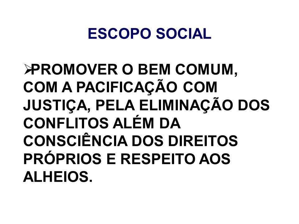 ESCOPO SOCIAL PROMOVER O BEM COMUM, COM A PACIFICAÇÃO COM JUSTIÇA, PELA ELIMINAÇÃO DOS CONFLITOS ALÉM DA CONSCIÊNCIA DOS DIREITOS PRÓPRIOS E RESPEITO