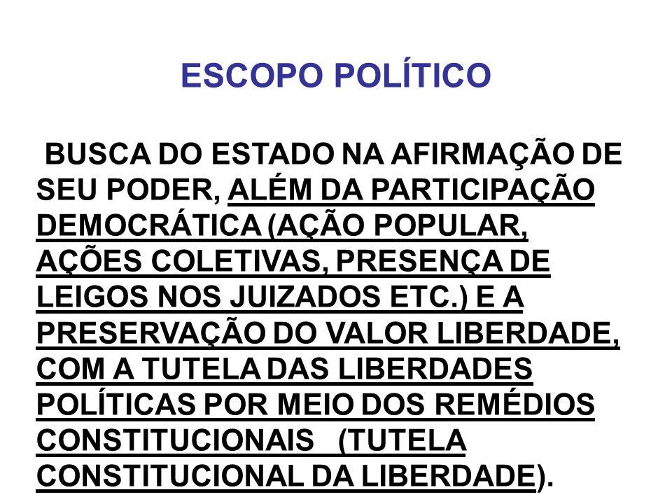 ESCOPO POLÍTICO BUSCA DO ESTADO NA AFIRMAÇÃO DE SEU PODER, ALÉM DA PARTICIPAÇÃO DEMOCRÁTICA (AÇÃO POPULAR, AÇÕES COLETIVAS, PRESENÇA DE LEIGOS NOS JUI