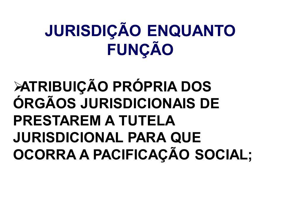JURISDIÇÃO ENQUANTO FUNÇÃO ATRIBUIÇÃO PRÓPRIA DOS ÓRGÃOS JURISDICIONAIS DE PRESTAREM A TUTELA JURISDICIONAL PARA QUE OCORRA A PACIFICAÇÃO SOCIAL;