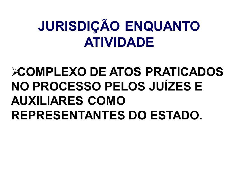 JURISDIÇÃO ENQUANTO ATIVIDADE COMPLEXO DE ATOS PRATICADOS NO PROCESSO PELOS JUÍZES E AUXILIARES COMO REPRESENTANTES DO ESTADO.