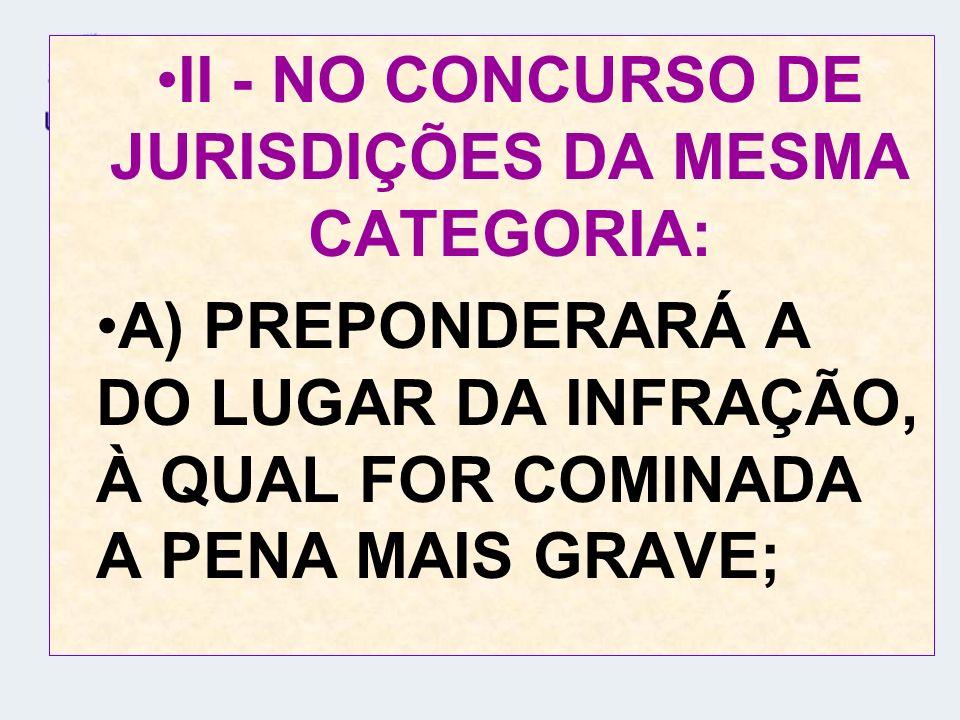 B) PREVALECERÁ A DO LUGAR EM QUE HOUVER OCORRIDO O MAIOR NÚMERO DE INFRAÇÕES, SE AS RESPECTIVAS PENAS FOREM DE IGUAL GRAVIDADE; C) FIRMAR-SE-Á A COMPETÊNCIA PELA PREVENÇÃO, NOS OUTROS CASOS;