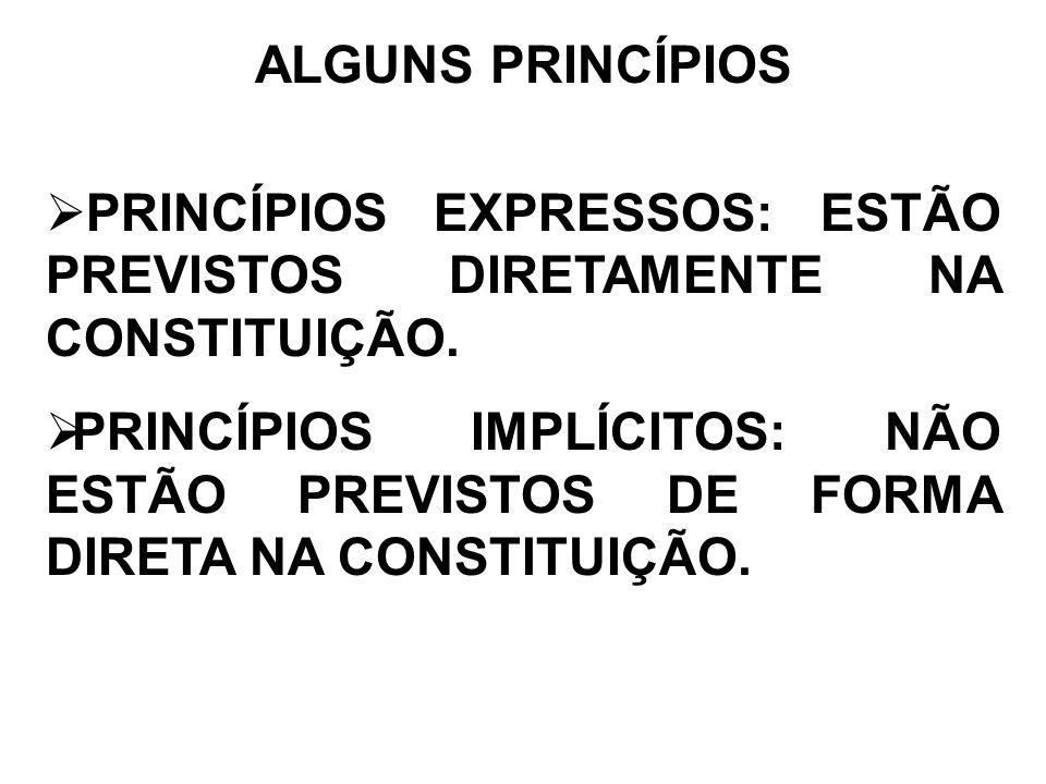 ALGUNS PRINCÍPIOS PRINCÍPIOS EXPRESSOS: ESTÃO PREVISTOS DIRETAMENTE NA CONSTITUIÇÃO. PRINCÍPIOS IMPLÍCITOS: NÃO ESTÃO PREVISTOS DE FORMA DIRETA NA CON