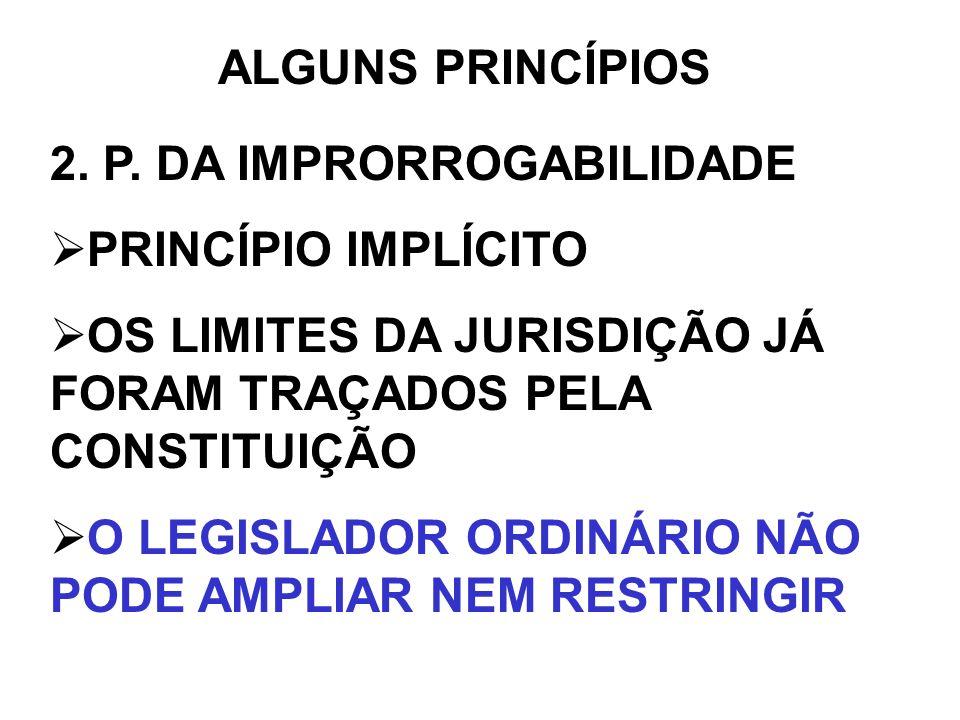 ALGUNS PRINCÍPIOS 2. P. DA IMPRORROGABILIDADE PRINCÍPIO IMPLÍCITO OS LIMITES DA JURISDIÇÃO JÁ FORAM TRAÇADOS PELA CONSTITUIÇÃO O LEGISLADOR ORDINÁRIO