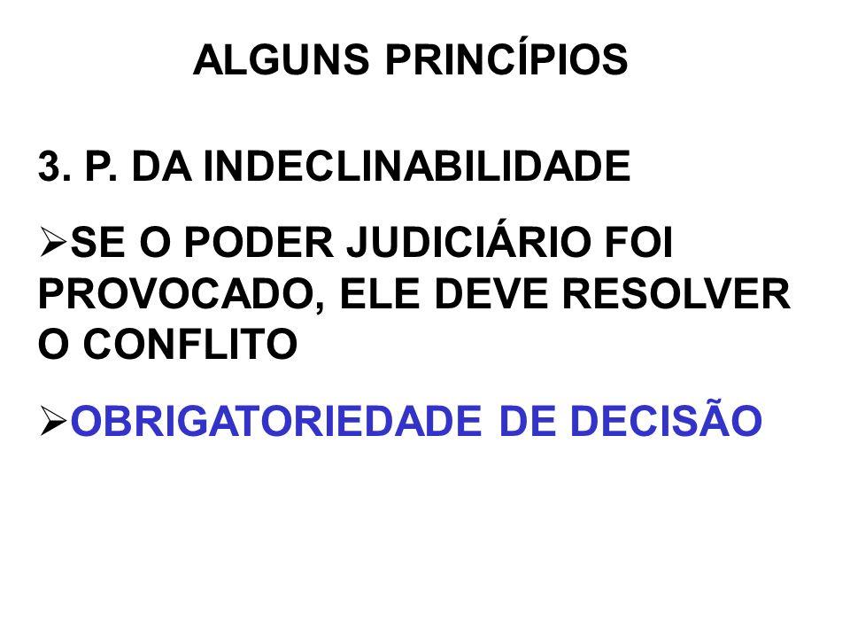 ALGUNS PRINCÍPIOS 3. P. DA INDECLINABILIDADE SE O PODER JUDICIÁRIO FOI PROVOCADO, ELE DEVE RESOLVER O CONFLITO OBRIGATORIEDADE DE DECISÃO
