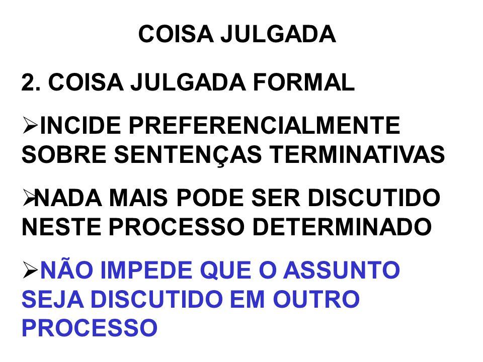 COISA JULGADA 2. COISA JULGADA FORMAL INCIDE PREFERENCIALMENTE SOBRE SENTENÇAS TERMINATIVAS NADA MAIS PODE SER DISCUTIDO NESTE PROCESSO DETERMINADO NÃ