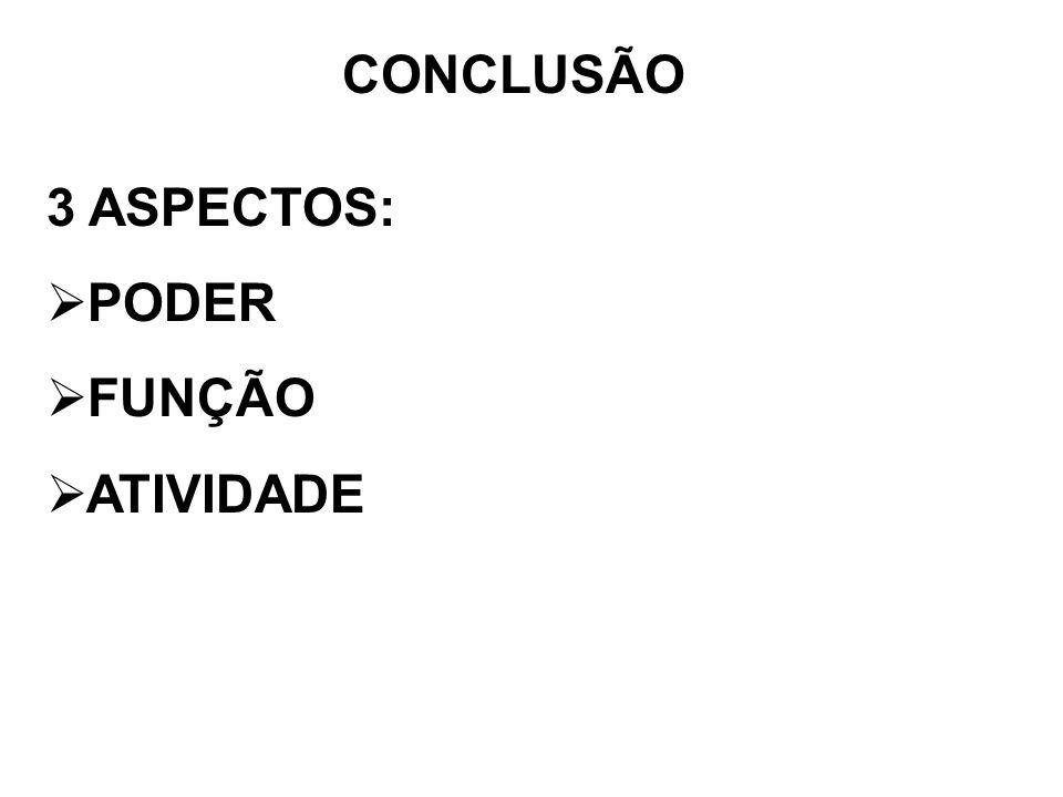 CONCLUSÃO 3 ASPECTOS: PODER FUNÇÃO ATIVIDADE