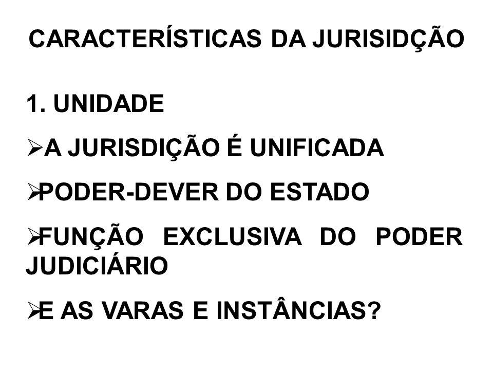 CARACTERÍSTICAS DA JURISIDÇÃO 1. UNIDADE A JURISDIÇÃO É UNIFICADA PODER-DEVER DO ESTADO FUNÇÃO EXCLUSIVA DO PODER JUDICIÁRIO E AS VARAS E INSTÂNCIAS?