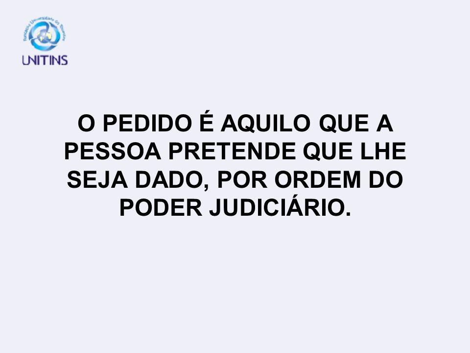 O PEDIDO É AQUILO QUE A PESSOA PRETENDE QUE LHE SEJA DADO, POR ORDEM DO PODER JUDICIÁRIO.