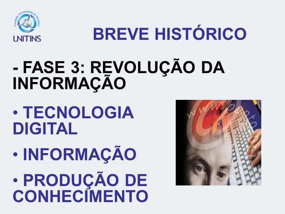 BREVE HISTÓRICO - FASE 3: REVOLUÇÃO DA INFORMAÇÃO TECNOLOGIA DIGITAL INFORMAÇÃO PRODUÇÃO DE CONHECIMENTO