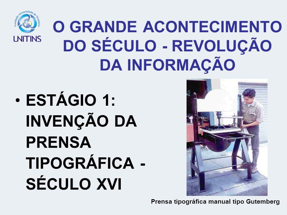 O GRANDE ACONTECIMENTO DO SÉCULO - REVOLUÇÃO DA INFORMAÇÃO ESTÁGIO 1: INVENÇÃO DA PRENSA TIPOGRÁFICA - SÉCULO XVI Prensa tipográfica manual tipo Gutemberg