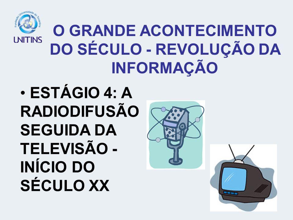 ESTÁGIO 4: A RADIODIFUSÃO SEGUIDA DA TELEVISÃO - INÍCIO DO SÉCULO XX O GRANDE ACONTECIMENTO DO SÉCULO - REVOLUÇÃO DA INFORMAÇÃO