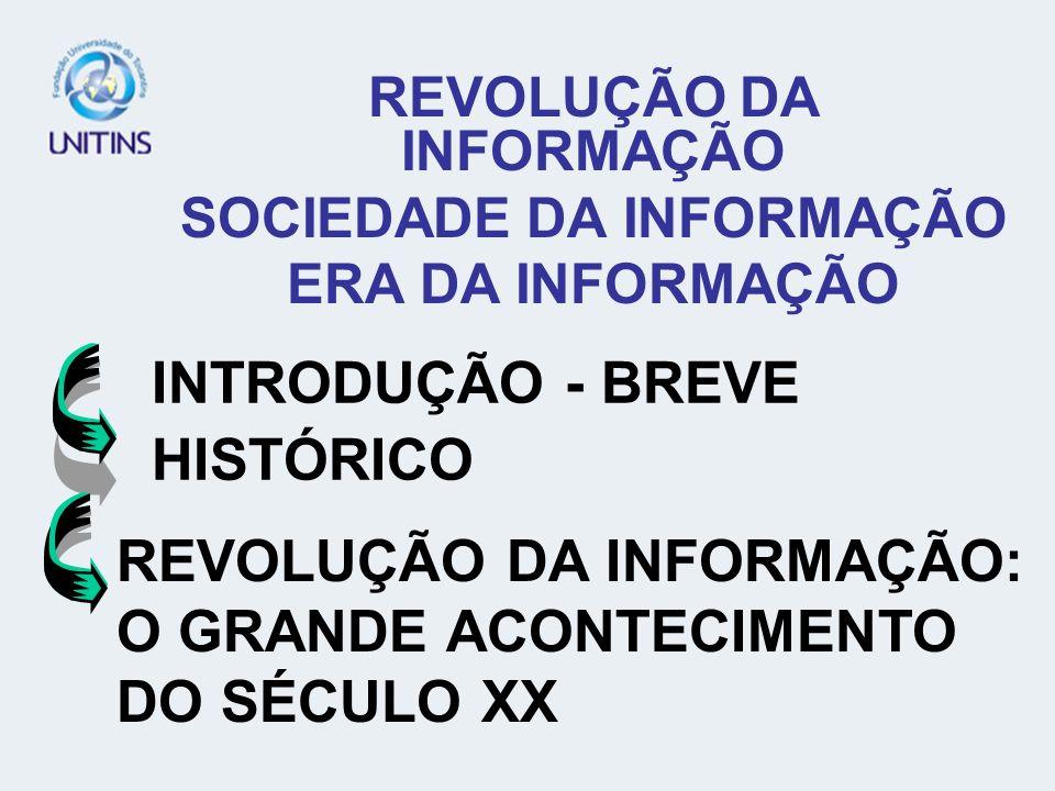 INTRODUÇÃO - BREVE HISTÓRICO REVOLUÇÃO DA INFORMAÇÃO SOCIEDADE DA INFORMAÇÃO ERA DA INFORMAÇÃO REVOLUÇÃO DA INFORMAÇÃO: O GRANDE ACONTECIMENTO DO SÉCULO XX
