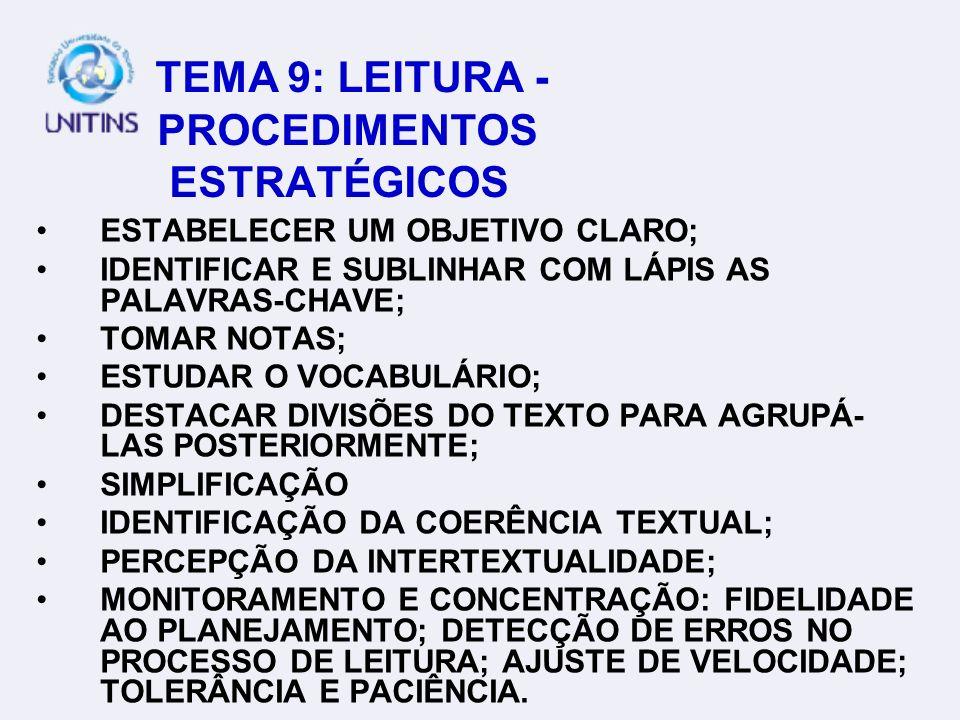 TEMA 9: LEITURA - PROCEDIMENTOS ESTRATÉGICOS ESTABELECER UM OBJETIVO CLARO; IDENTIFICAR E SUBLINHAR COM LÁPIS AS PALAVRAS-CHAVE; TOMAR NOTAS; ESTUDAR O VOCABULÁRIO; DESTACAR DIVISÕES DO TEXTO PARA AGRUPÁ- LAS POSTERIORMENTE; SIMPLIFICAÇÃO IDENTIFICAÇÃO DA COERÊNCIA TEXTUAL; PERCEPÇÃO DA INTERTEXTUALIDADE; MONITORAMENTO E CONCENTRAÇÃO: FIDELIDADE AO PLANEJAMENTO; DETECÇÃO DE ERROS NO PROCESSO DE LEITURA; AJUSTE DE VELOCIDADE; TOLERÂNCIA E PACIÊNCIA.
