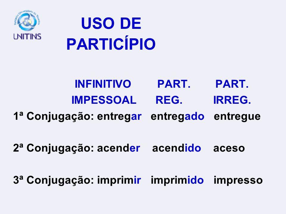 USO DE PARTICÍPIO INFINITIVO PART.PART. IMPESSOAL REG.