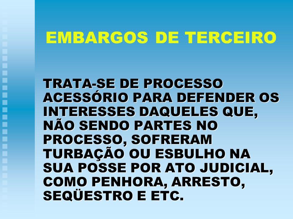 PRESSUPOSTOS DA AÇÃO DE EMBARGOS DE TERCEIRO UM ATO DE APREENSÃO JUDICIAL.