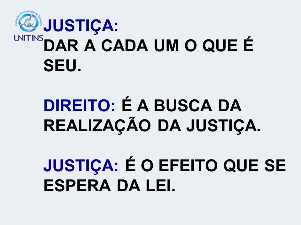 JUSTIÇA: DAR A CADA UM O QUE É SEU. DIREITO: É A BUSCA DA REALIZAÇÃO DA JUSTIÇA. JUSTIÇA: É O EFEITO QUE SE ESPERA DA LEI.