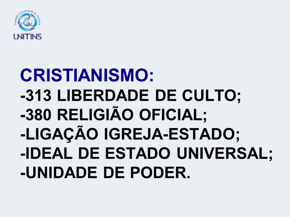 CRISTIANISMO: -313 LIBERDADE DE CULTO; -380 RELIGIÃO OFICIAL; -LIGAÇÃO IGREJA-ESTADO; -IDEAL DE ESTADO UNIVERSAL; -UNIDADE DE PODER.