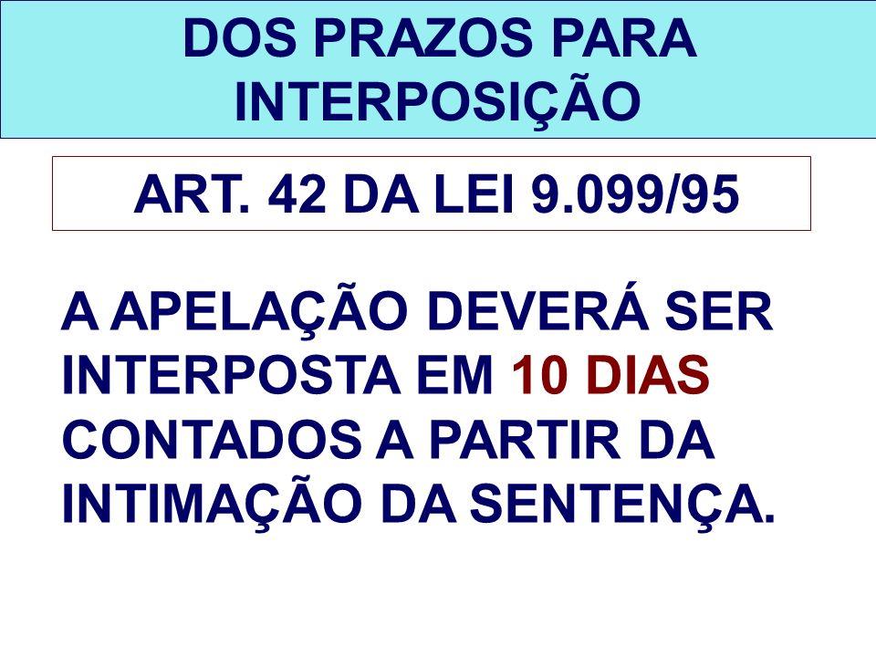 DOS PRAZOS PARA INTERPOSIÇÃO ART. 42 DA LEI 9.099/95 A APELAÇÃO DEVERÁ SER INTERPOSTA EM 10 DIAS CONTADOS A PARTIR DA INTIMAÇÃO DA SENTENÇA.