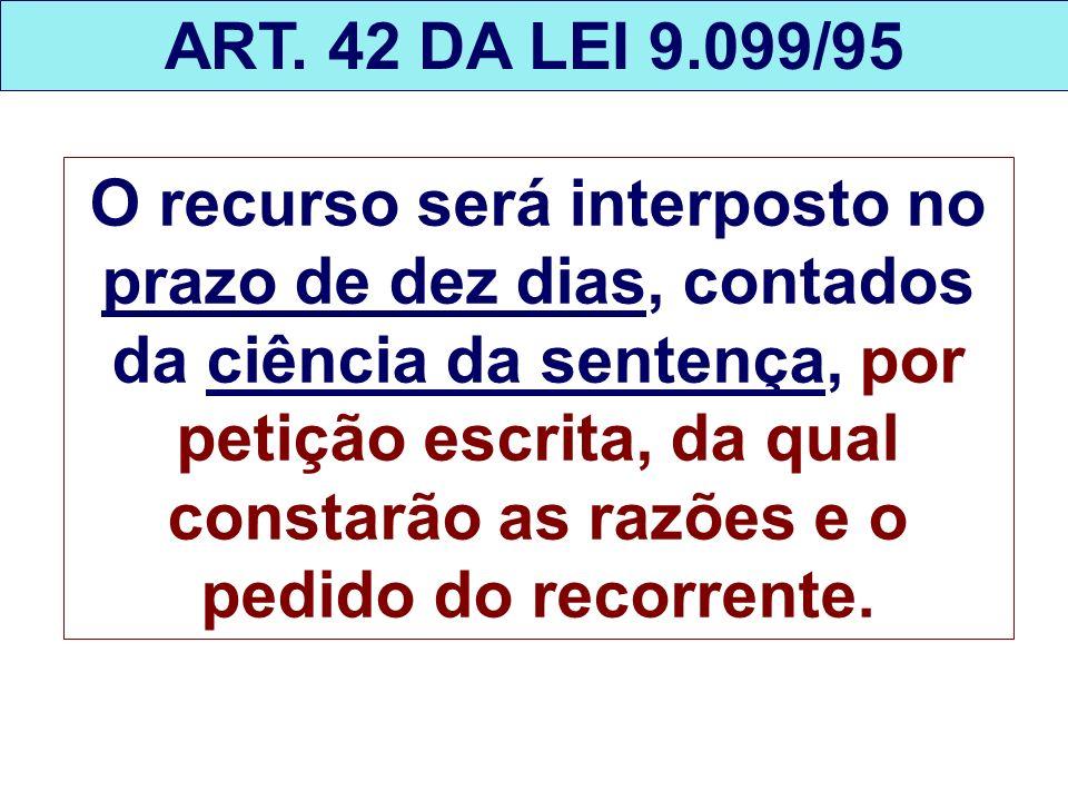 ART. 42 DA LEI 9.099/95 O recurso será interposto no prazo de dez dias, contados da ciência da sentença, por petição escrita, da qual constarão as raz