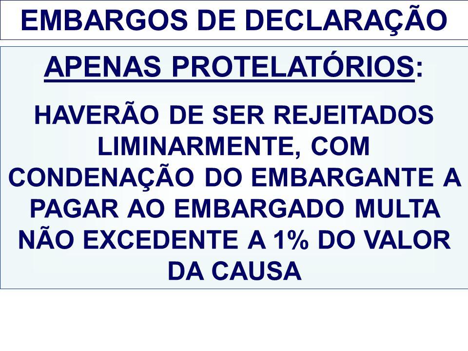 EMBARGOS DE DECLARAÇÃO APENAS PROTELATÓRIOS: HAVERÃO DE SER REJEITADOS LIMINARMENTE, COM CONDENAÇÃO DO EMBARGANTE A PAGAR AO EMBARGADO MULTA NÃO EXCED