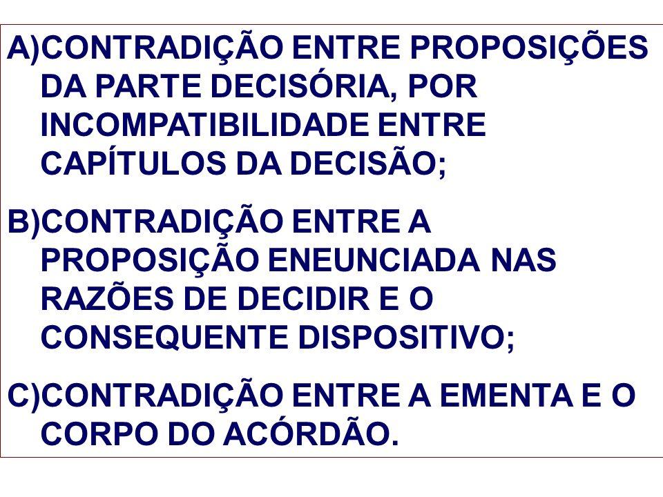 A)CONTRADIÇÃO ENTRE PROPOSIÇÕES DA PARTE DECISÓRIA, POR INCOMPATIBILIDADE ENTRE CAPÍTULOS DA DECISÃO; B)CONTRADIÇÃO ENTRE A PROPOSIÇÃO ENEUNCIADA NAS