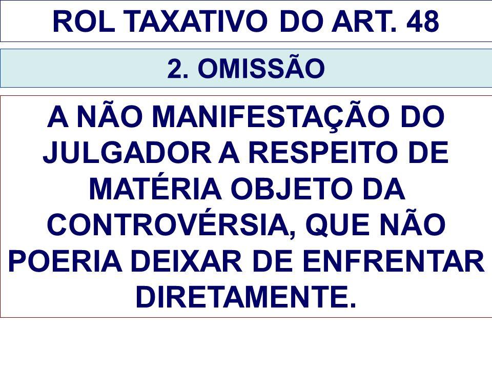 ROL TAXATIVO DO ART. 48 2. OMISSÃO A NÃO MANIFESTAÇÃO DO JULGADOR A RESPEITO DE MATÉRIA OBJETO DA CONTROVÉRSIA, QUE NÃO POERIA DEIXAR DE ENFRENTAR DIR
