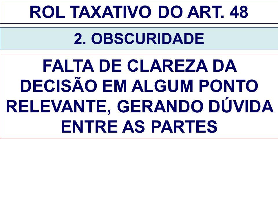 ROL TAXATIVO DO ART. 48 2. OBSCURIDADE FALTA DE CLAREZA DA DECISÃO EM ALGUM PONTO RELEVANTE, GERANDO DÚVIDA ENTRE AS PARTES