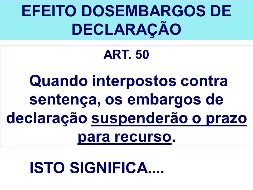 EFEITO DOSEMBARGOS DE DECLARAÇÃO ART. 50 Quando interpostos contra sentença, os embargos de declaração suspenderão o prazo para recurso. ISTO SIGNIFIC
