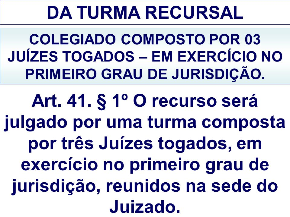 DA TURMA RECURSAL COLEGIADO COMPOSTO POR 03 JUÍZES TOGADOS – EM EXERCÍCIO NO PRIMEIRO GRAU DE JURISDIÇÃO. Art. 41. § 1º O recurso será julgado por uma