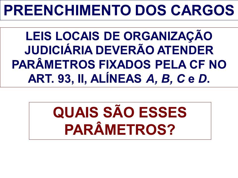 PREENCHIMENTO DOS CARGOS LEIS LOCAIS DE ORGANIZAÇÃO JUDICIÁRIA DEVERÃO ATENDER PARÂMETROS FIXADOS PELA CF NO ART. 93, II, ALÍNEAS A, B, C e D. QUAIS S