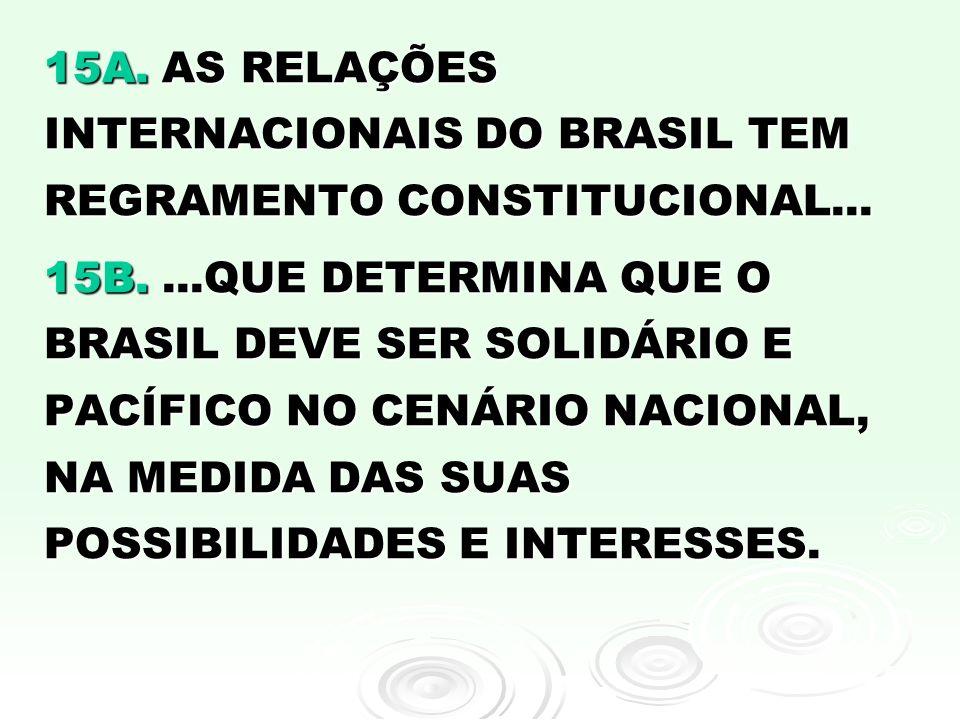 15A. AS RELAÇÕES INTERNACIONAIS DO BRASIL TEM REGRAMENTO CONSTITUCIONAL... 15B....QUE DETERMINA QUE O BRASIL DEVE SER SOLIDÁRIO E PACÍFICO NO CENÁRIO