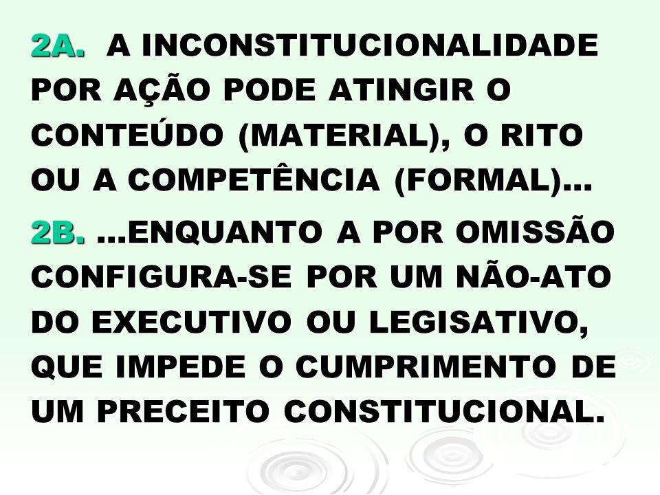 2A. A INCONSTITUCIONALIDADE POR AÇÃO PODE ATINGIR O CONTEÚDO (MATERIAL), O RITO OU A COMPETÊNCIA (FORMAL)... 2B....ENQUANTO A POR OMISSÃO CONFIGURA-SE