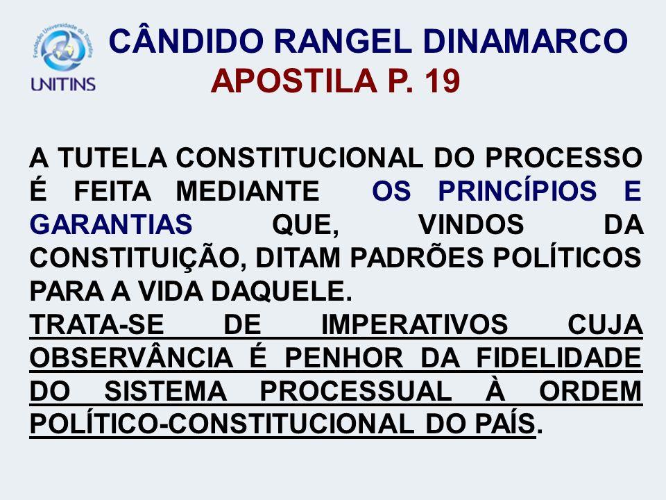 CÂNDIDO RANGEL DINAMARCO APOSTILA P. 19 A TUTELA CONSTITUCIONAL DO PROCESSO É FEITA MEDIANTE OS PRINCÍPIOS E GARANTIAS QUE, VINDOS DA CONSTITUIÇÃO, DI
