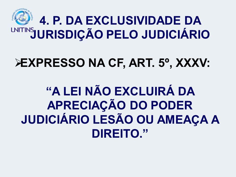 4. P. DA EXCLUSIVIDADE DA JURISDIÇÃO PELO JUDICIÁRIO EXPRESSO NA CF, ART. 5º, XXXV: A LEI NÃO EXCLUIRÁ DA APRECIAÇÃO DO PODER JUDICIÁRIO LESÃO OU AMEA